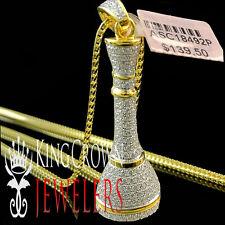 King Chess Piece Pawn Pendant 10K Yellow Gold Silver Pave Set Lab Diamond +Chain