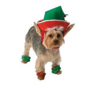 Holiday Elf Costume for Dogs - M - 1 headpiece & 4 leg cuffs