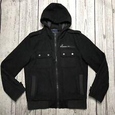 American Rag Cie Men's Hooded Black Wool Blend Outerwear Coat Medium   1840