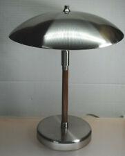 DUAL SOCKET ATOMIC UFO SAUCER METAL SHADE ART DECO STYLE WOOD DESK LAMP
