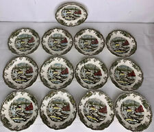 "13 Johnson Bros The Friendly Village Ice House Saucers 5-1/2"" Plates Dishes"