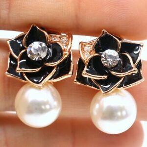 Large White Akoya Pearl Earrings Women Birthday Jewelry 14K Rose Gold Plated