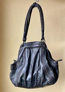 Diesel Black Leather Tote Shoulder Bag Purse with zipper details