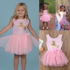 Baby Kids Girls Stripes Unicorn Princess Dress Birthday Party Tulle Tutu Dresses