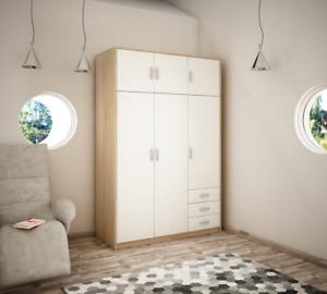 Wiktoria 3 door 3 drawer 3 cupboard wardrobe - White and Light Oak