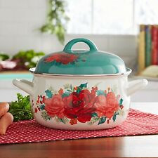 THE PIONEER WOMAN CHEERFUL ROSE ENAMEL ON STEEL DUTCH OVEN WITH LID 4 QUART HTF
