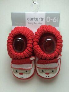 Carter's Baby Booties Santa Crochet Knit Newborn 0-6 Months NWT