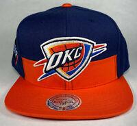 Mitchell and Ness NBA Oklahoma City Thunder OKC Horizontal Split Snapback Hat