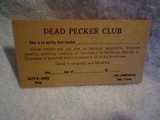DEAD PECKER CLUB CARD Gag Gift, usta b.hard, iva limberdick,vintage,old,party