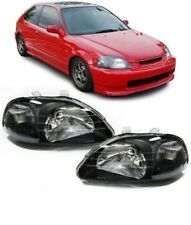 TYC Clear Glass Headlight Black For LWR For Honda Civic VI EJ EK 95-99