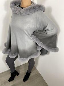 Poncho Faux Fur Hood Grey Luxurious Soft Knit Fluffy Furry Faux Fur Trim Long