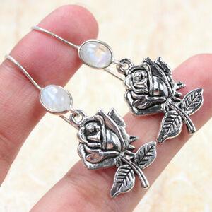 "Moonstone Rose 925 Silver Plated Gemstone Handmade Earrings of 1.8"""