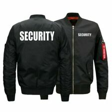Security Uniform Jacket Winter MA1 Flight Bomber Coat Black Baseball Outwear