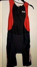 TYR Women's Black Red White Front Zip Tri Swim Carbon Amp Pad Shortjohn NWOT L