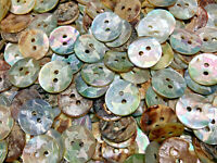 """25 Real Mother Of Pearl /""""Baroque/"""" Laser Natural Rainbow Shell 15mm 5//8/"""" 2hole"""