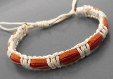Surfer Style Genuine Leather Cotton Rope Bracelet Wristband Orange and Red