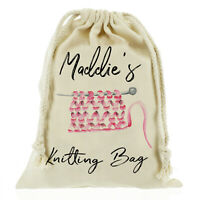 Personalised knitting bag, needles, wool, cotton, yarn bag Customise with Name