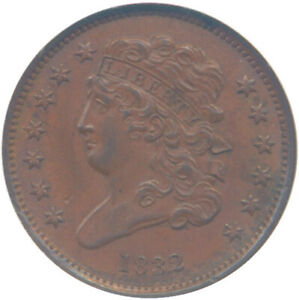 1832 1/2c Half Cent C-1 NGC MS63 Brown Condition