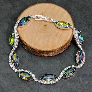 Rainbow Topaz And White Crystal Diamante Wedding Prom Bracelet 20cm