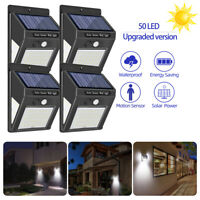 50 LED Solar Luz de Pared Impermeable Sensor Movimiento 3 modos Lámpara Exterior