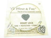 Wind & Fire 3D Heart Lock Charm Silver Wire Bangle Stackable Bracelet USA Gift