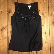 ANN TAYLOR LOFT Women's Size 4 Jeweled Beaded Neckline Lined Top Business Work