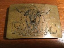 VTG Belt Buckle Ampersand Brass Engraved Belt Buckle - Engraved Bull Design