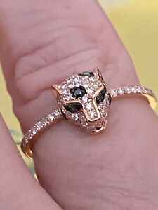 NEW! EFFY 14K Rose Gold, Emerald Diamond Panther Ring/ Size 7 / $1,940/ REDUCED!
