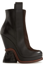 Fendi Chelsea Runway Black- Brown Wedge Boots Ankle Zipper Bootie 40 - 9.5