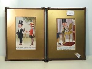 Two Framed Vintage Postcards Matching Humorous Cartoon Quality Metal Frames