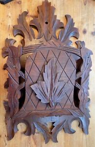 Antique VICTORIAN Black Walnut WALL POCKET Maple Leaves Carved