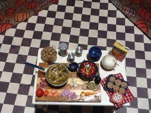 1/12 dollhouse miniature OOAK harvest soup making table