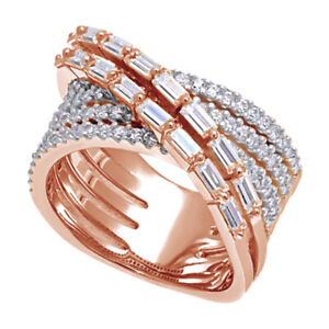 2.32 Ct Round & Baguette Simulated Multi-Row Band Ring in 14k Rose Gold Finish