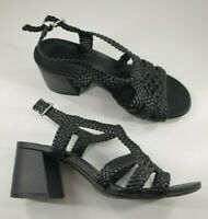 M&S size 5.5 wider fit black faux leather strappy block heel buckle sandals