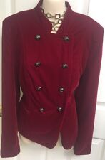 Cache Red Soft Velvet Military New Jacket Size 8
