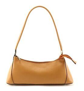 TAN leather SHOULDER BAG baguette shape Italian ladies women's long slim HANDBAG