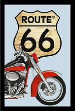 Route 66 Bike Nostalgie Barspiegel Spiegel Bar Mirror 22 x 32 cm