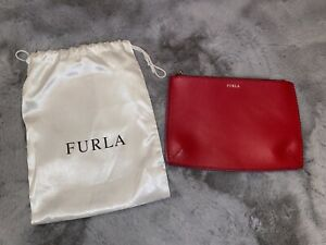 Gorgeous Furla Red Leather Red Makeup Bag Brand New With Dust Bag