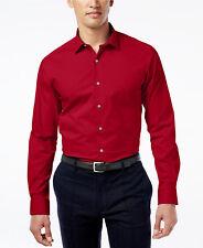 NWT $95 ALFANI Men SLIM-FIT STRETCH RED LONG-SLEEVE DRESS SHIRT 16-16.5 34/35 L