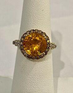 LeVian 14K Yellow Gold Citrine Gem, Chocolate & Vanilla Diamond Ring Size 5.25