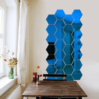 Plastic Stickers DIY 3D Hexagon Art Mirror Decal Home Wall 12Pcs Decor Removable