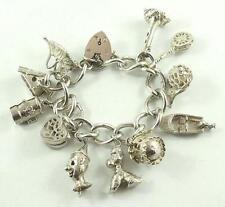 Exquisite Sterling Silver Heart Padlock Charm Bracelet & 11 Unique Charms