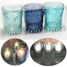 3 Windlicht Glas Kugel Teelichthalter Kerzenständer Kerzenhalter Blau Türkis Set