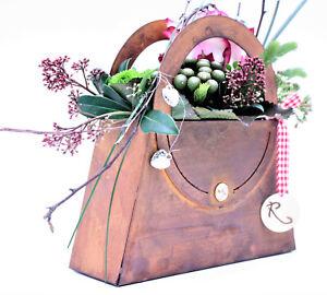 Deko Tasche zum Beflanzen und Dekorieren   Rost Edelrost Pflanzschale Tischdeko