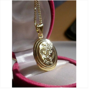 9ct oval locket on chain necklace gf LIMITED OFFER - 9ct gold bling 98
