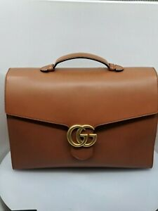 Gucci Men's Marmont GG Brown/Cognac Leather Briefcase, Limited, Very Rare - NEW