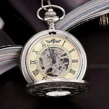 Vintage Retro Silver Skeleton Windup Mechanical Pocket Watch Chain Steampunk