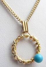 Chaîne pendentif collier bijou vintage 80 rosace couleur or perle turquoise 5080