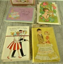 Lot Baby Birth Announcements/Thank You's Mid Century Vintage Greeting Cards