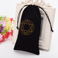 Hexagram Black Velvet Tarot Pouch Bag Star of David Tarot Cards Drawstring Bag